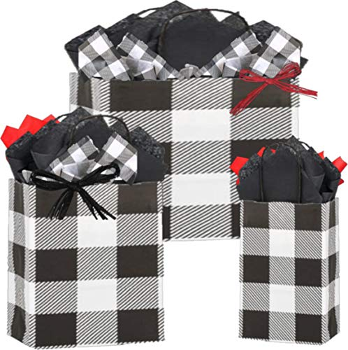 Gift Bags, Assorted Sizes, Bundled with Coordinating Tissue Paper and Raffia Ribbon (Buffalo Checked)