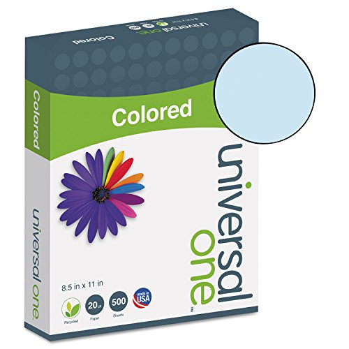 Universal Colored Paper, 20 lb, 8-1/2 x 11, Blue, 500 Sheets/Ream (11202) by Universal One