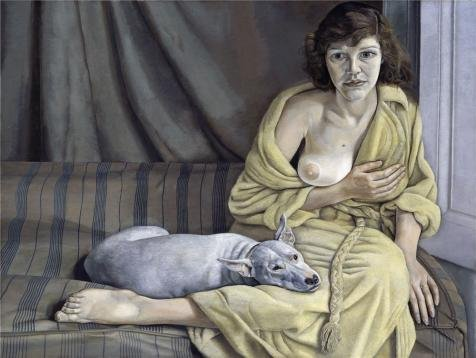 'Lucian Freud - Girl With A White Dog, 1950' Oil Painting, 30x40 Inch / 76x101 Cm ,printed On Perfect Effect Canvas ,this Replica Art DecorativePrints On Canvas Is Perfectly Suitalbe For Gym Decoration And Home Gallery Art And Gifts by OILP