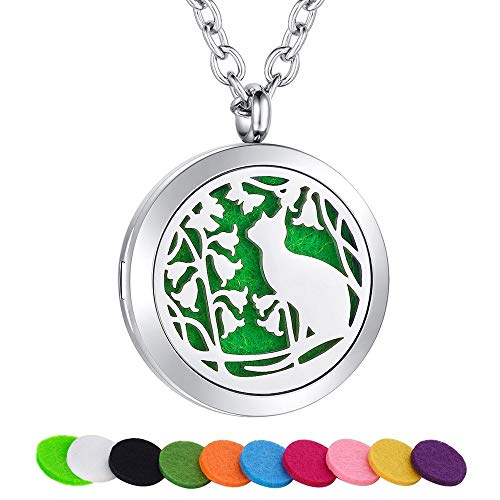 (SWOPAN Essential Oil Diffuser Necklace Aromatherapy Cat Diffuser Locket Pendant Stainless Steel Necklace for Women Men Girl Aroma Therapy Perfume Necklace Hypoallergenic Jewelry, Cat Diffuser Locket)