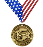 Gold 5K World Class Medal - 1st Place - 5 Kilometer Marathon - Comes with Exclusive Decade Awards Stars & Stripes American Flag V Neck Ribbon - 3 inch wide - Made of Metal - Race (GOLD)