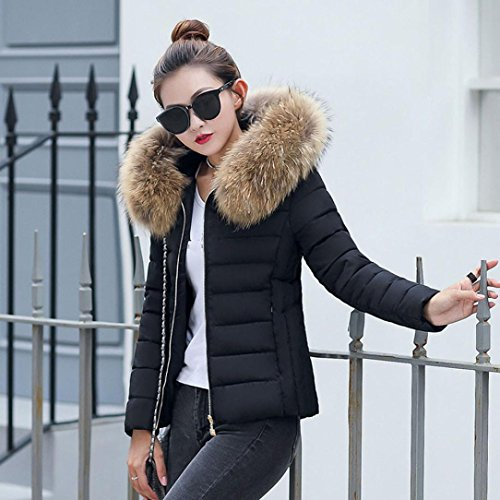 Solid Slim Jacket With Women L Fur Overcoat Thicker Casual SamMoSon Hood Fashion Coat Winter Down Parka Black 5azWnE0cx7