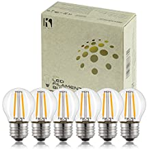 Keymit G14 2W UL-E492997 LED Globe Chandelier Bulb - Dimmable with 90% Types of Dimmers - E26 Medium Base Filament Clear Edison Light Bulbs – 20W Equivalent 6Pack