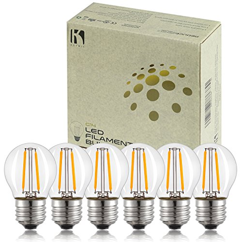 Extra Deep Vanity (Keymit E26 Base G14 2W LED Small Globe Bulb 1.77 BY 3.07 IN - NOT A19 - Dimmable - 6Pack)