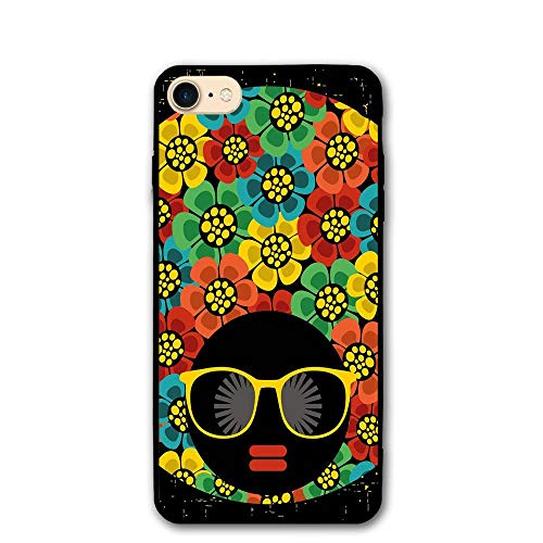 Haixia iPhone 7/8 Phone Shell 4.7 inch 70s Party Decorations Abstract Woman Portrait Hair Style Flowers Sunglasses Lips Graphic -