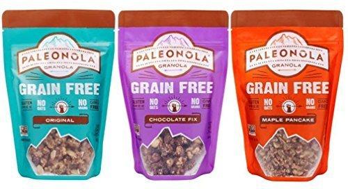 Paleonola Grain Free Gluten Free Granola 3 Flavor Variety Bundle: (1) Paleonola Original Granola, (1) Paleonola Chocolate Fix Granola, and (1) Paleonola Maple Pancake Granola, 10 Oz. Ea. (3 Bags Total)