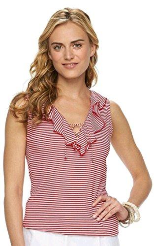 Chaps Women's Stripe Ruffle Lace-Up Sleeveless Blouse (Medium, Yacht - Womens Up Lace Chaps
