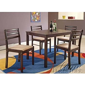 This Item 5pc Casual Dining Table Chairs Set In Espresso Finish