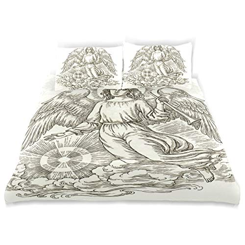 - CANCAKA Ink Duvet Cover Set Ink Pen Drawing Flying Christmas Design Bedding Decoration Twin Size 3 PC Sets 1 Duvets Covers with 2 Pillowcase Microfiber Bedding Set Bedroom Decor Accessories