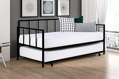 Modern Finlay Daybed with Trundle Combo, Twin Metal Bed Frame,