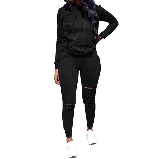058ab38bd85 Top-Vigor Womens 2PCS Plus Size Sweatsuits Set Long Sleeve Hoodie and Bodycon  Pants Jogging