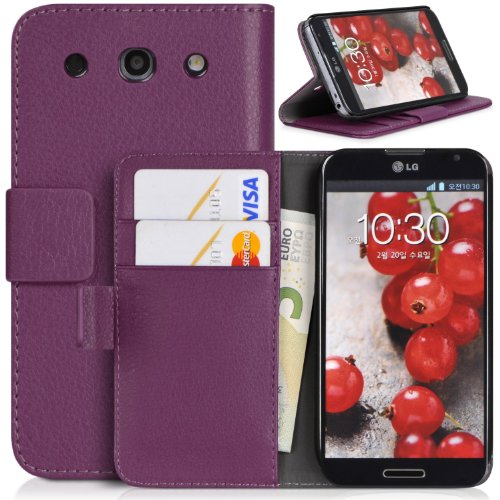 Topratesell Wallet Case for Lg Optimus G Pro E980 Structure with Credit Card Pockets and Stand-up Feature (Purple)