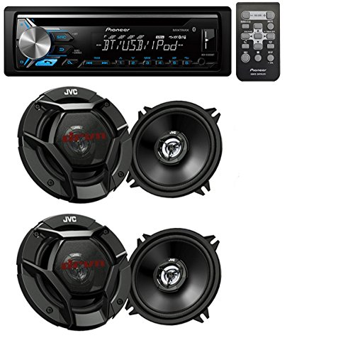 """Pioneer DEH-X3900BT Car Audio CD MP3 Bluetooth Stereo Radio Player, Front Aux Input With(4) JVC 6.5"""" 600 Watt 2-Way Car Audio Speakers"""