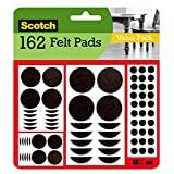 Scotch Felt Pads 162 Pack, Great for Protecting Hardwood Floors, Assorted Size Round Furniture Pads, Brown (SP847-NA), 162 Pads
