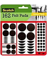 Scotch Brand Felt Pads, by 3M, Great for Protecting Floors, Protectors, Assorted Furniture 162 Pads, Brown