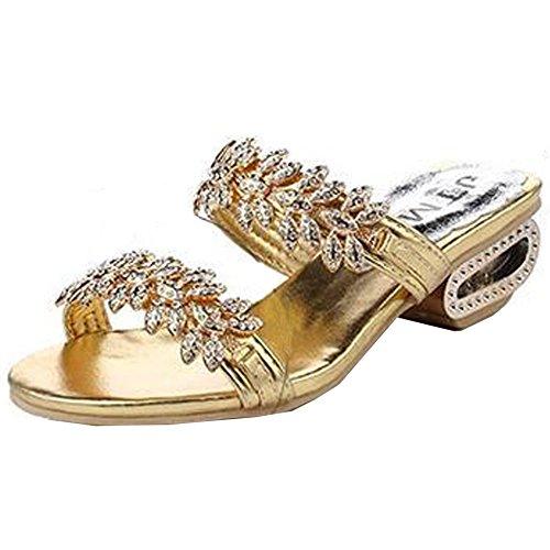 SUNAVY - Zapatos con tacón Mujer BlingGold
