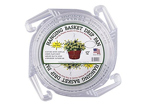 12'' Hanging Basket Drip Pan - Clear Vinyl - Curtis Wagner - Pack of 5 by Growers Solution by Curtis Wagner