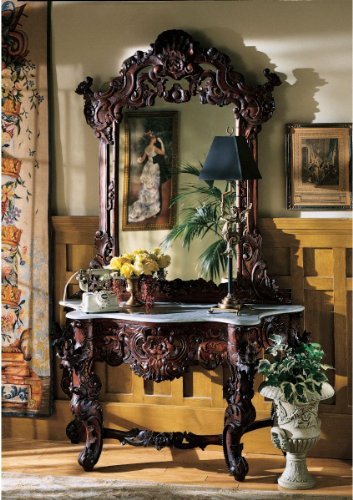 XoticBrands Hand-Carved Solid Mahogany Antique Replica Hapsburg Mirror Topped Console Table