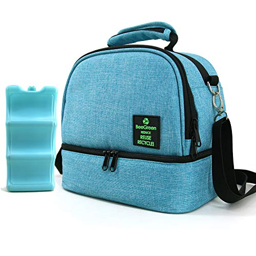 Insulated-Lunch-Bag-Reusable-Lunch-Box Breastmilk Cooler Bag with Ice Pack for Women Men Adults, 2 Compartments Thermal Lunchbox for Work Picnic Outdoor Teal Blue
