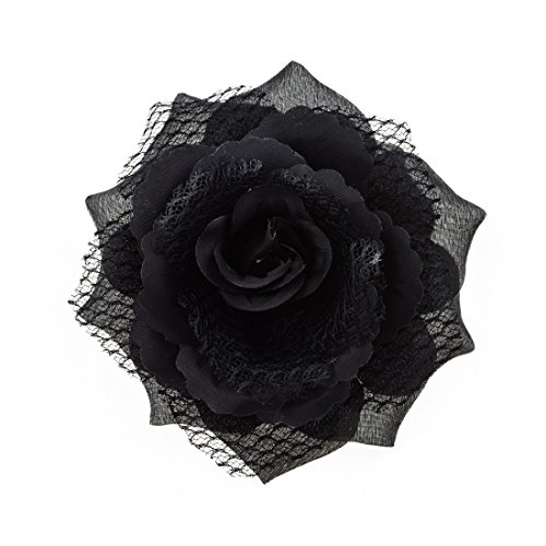 Love Sweety Women Party Big Rose Flower Hairpin Hair Clips Flower Brooch (1# Black)