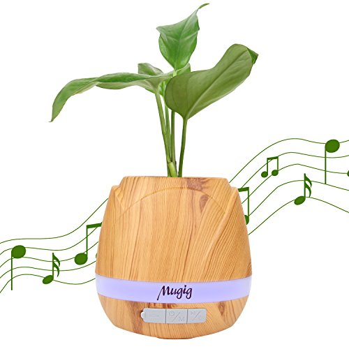 Mugig Music Flowerpot, Music Plant Pot with Wireless Bluetooth Speaker, Multi-color LED Light Smart Touch Musical Flower Pots for Office Home - Pot Music