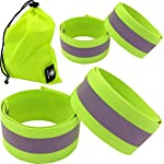 4 Reflective Bands for Arm, Wrist, Ankle, Leg. Reflector Bands. High Visibility Reflective Running Gear for Women and Men Cycling Walking Bike Safety Tape Straps – Bicycle Pants Clip, Cuff