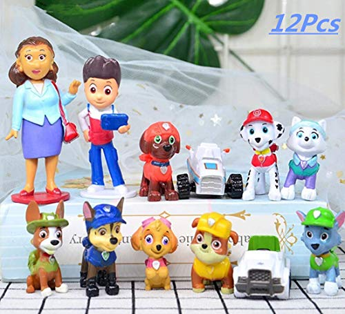 12 Pcs Paw Dogs Patrol Cake Topper Decorations Children Mini Toys Cupcake Toppers for Birthday Party Supplies (Paw Patrol Cake Topper Round)