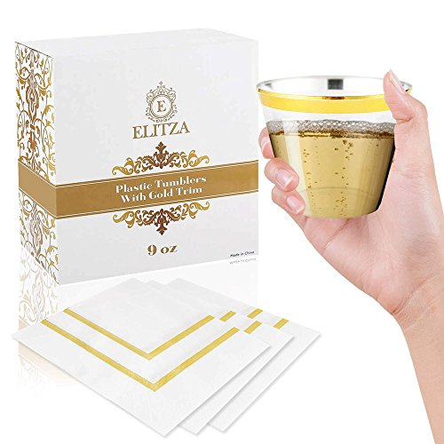 Elitza Gold Plastic Cups - 9oz Tumblers with Gold Rim 50 count | BONUS 50 Napkins with Gold Trim Included | Disposable Reusable Fancy Elegant Gold Rimmed Cups for Weddings Parties Showers Events
