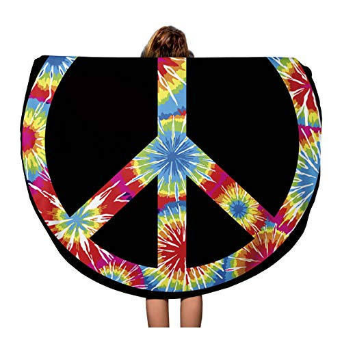 Semtomn 60 Inches Round Beach Towel Blanket Colorful Dye Tie Dyed Peace Symbol Purple Sign Tye Travel Circle Circular Towels Mat Tapestry Beach Throw