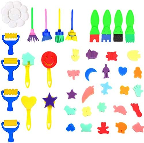 42 Pcs Washable Paint Brushes Set for Toddler Kids Early Learning Toys Finger Paints sponges Art Supplies Preschool Fun Gifts