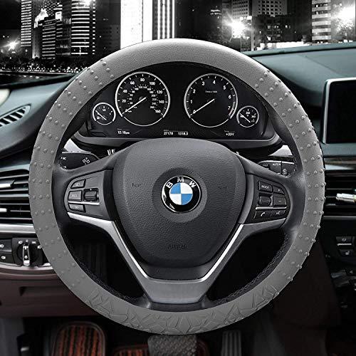 JYPC Silicone Anti-slip Car Steering Wheel Cover Novel Geometrical Pattern Universal 15 inch (Grey)