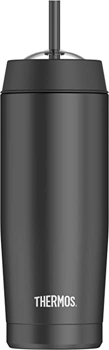 Thermos 16 Ounce Vacuum Insulated Cold Cup with Straw, Black