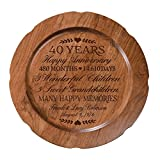 Personalized 40th Wedding Anniversary Plate Gift for Couple, Custom Happy Fortieth Anniversary Gifts for Her 12'' D Custom Engraved for Husband or Wife By LifeSong Milestones USA Made (Special Dates)