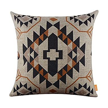 LINKWELL 18 x18  Ethnic Pattern Design Attractive Burlap Cushion Covers Pillow Case (CC1014)