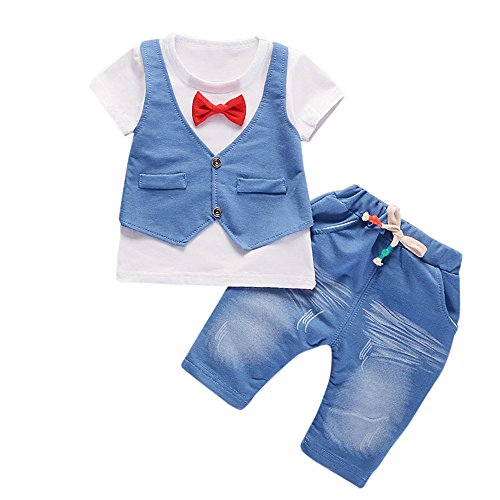 ❤️ Mealeaf ❤️ Toddler Outfits Kids Baby Boys Short Sleeve T-Shirt + Pants Party Gentleman Suit Clothes Set 0-5t