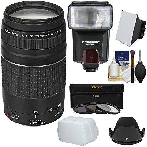 Canon EF 75-300mm f/4-5.6 III Zoom Lens with 3 Filters + Hood + Flash & 2 Diffusers + Kit for EOS 5D Mark II III, 6D, 7D, 70D, Rebel T3, T3i, T5, T5i, SL1 Cameras