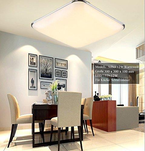 16W LED Warmweiß Modern Deckenlampe Deckenleuchte Schlafzimmer Küche Flur Wohnzimmer  Lampe Wandleuchte Energie Sparen Licht Silber ...