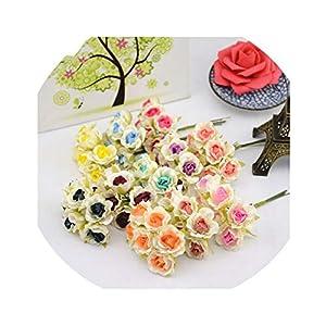 Get-in 6pcs/lot 2cm Silk Mini Rose Color Artificial Flower Bouquet for Wedding Decoration DIY Wreath Gift Scrapbooking Craft Flower 112