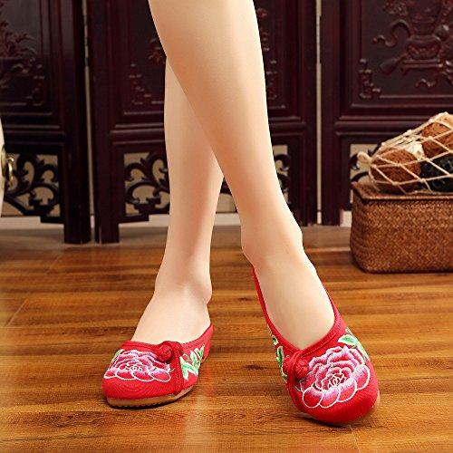 Zapatos Moda Ricamo Rojo Verano Lindos Zapatos de de Peony Ocasionales Lona Zapatos Respirables de Rojos q6t070