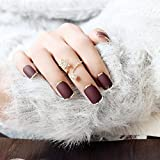 Yean 24 Pcs False Nail Fake Nail French Chocolate - Coloured Frosted Matte with Gold Metallic Press on Nails Short Full Cover Nail Tips with Glue and Adhesive Tab for women and girls