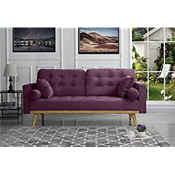 Mid Century Modern Tufted Velvet Fabric Sofa (Purple)