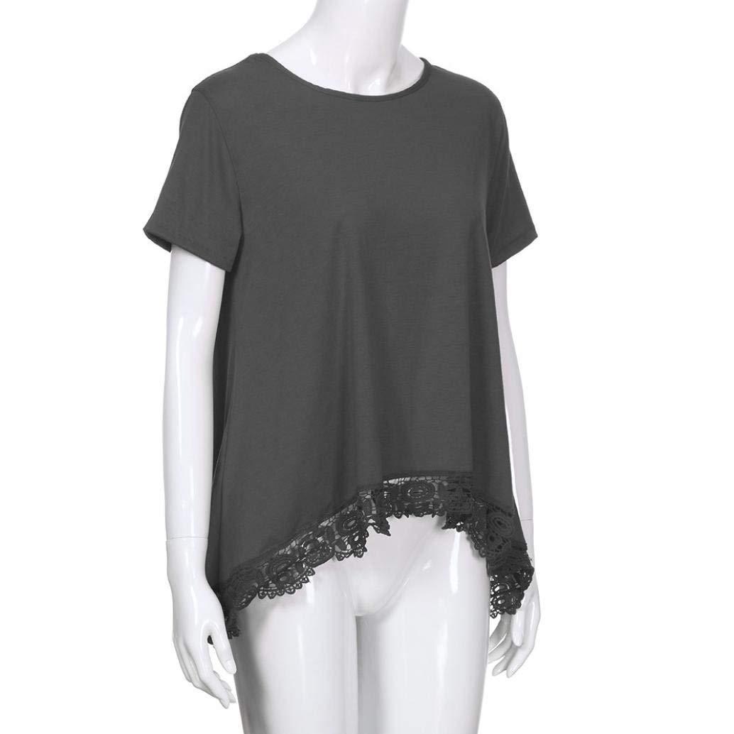 TINGSU - Blusa de manga corta para mujer, color puro, encaje o cuello (L, azul oscuro) gris S: Amazon.es: Belleza