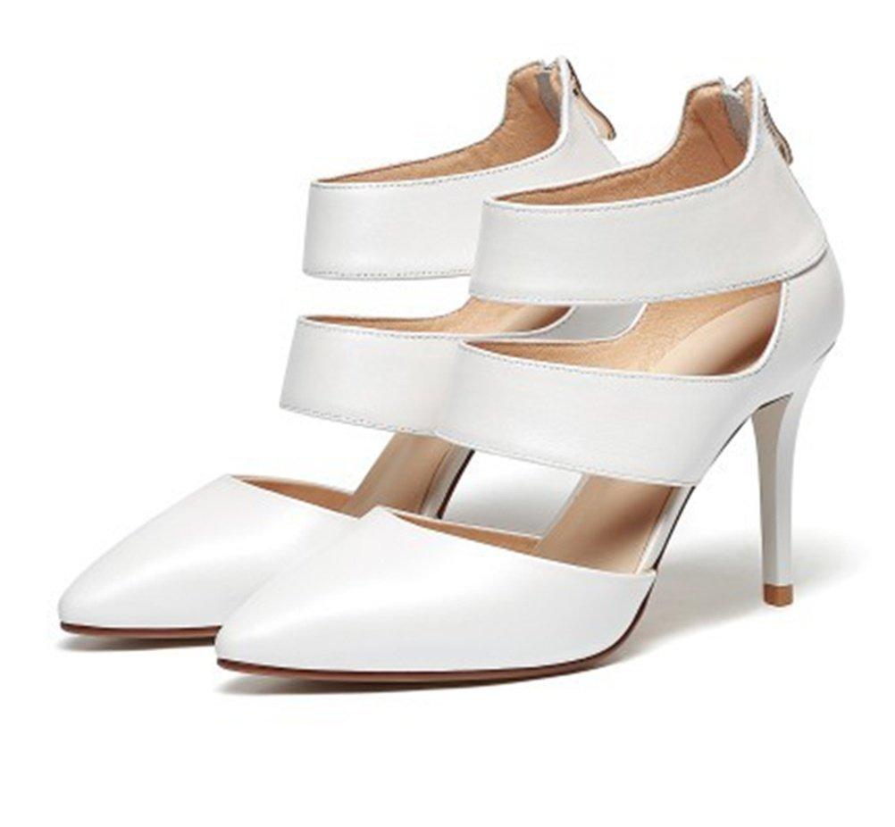 blanc-US55EU36UK35CN35 GHFDSJHSD Sandales à Talons Hauts pour Femmes en Cuir Naturel Peep Toe Cheville Strappy Les Les dames Pompe Parti de Mariage Chaussures de Bal Taille 3-8 pour l'été