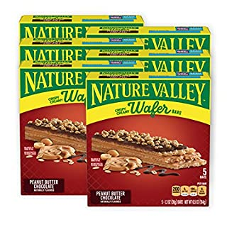 Nature Valley Crispy Creamy Wafer Bars, Peanut Butter Chocolate, 5 Bars, Pack of 6