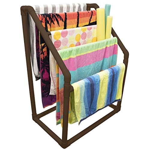 Essentially Yours 5 Bar Angled Pool Towel Rack Brown | Free Standing Poolside Storage Organizer - Also Stores Floats, Paddles and Noodles.