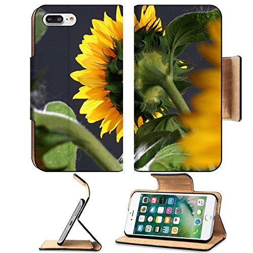 Luxlady Premium Apple iPhone 7 Plus Flip Pu Leather Wallet Case iPhone7 Plus 5811116 Sunflower on the dark background in studio