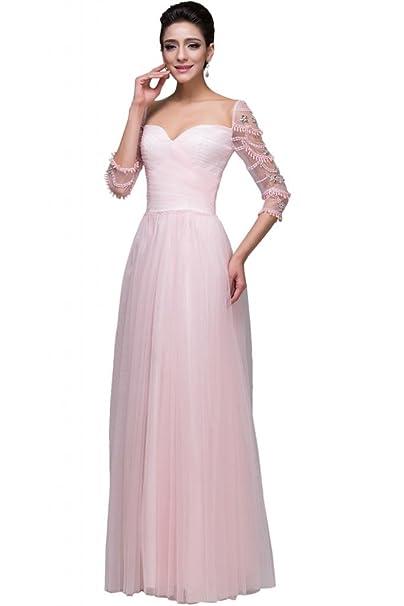 Sunvary rosa 3/4 Manga Larga de tul madre de novia vestidos noche parte trasera