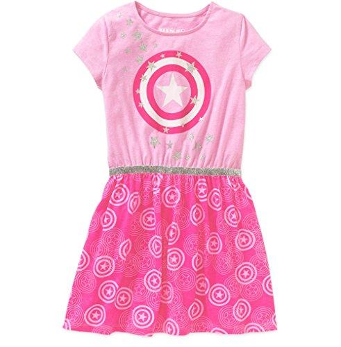 Girls Marvel Avengers Pink Captain America T-Shirt Dress (Large 10/12)