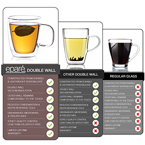 eparé insulated coffee cups set 12 oz 350 ml double wall