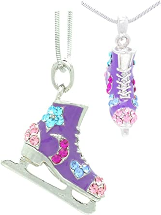 Choose Your Color! Violet Victoria /& Fan Star Deluxe Crystal Ice Skate Figure Skating Necklace Moons Stars /& Hearts